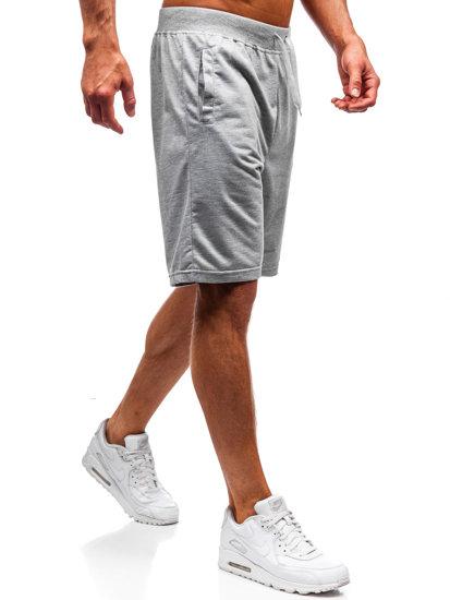 Krótkie spodenki dresowe męskie szare Denley DK01