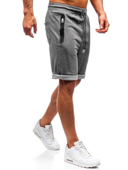 Krótkie spodenki dresowe męskie szaro-białe Denley Q3873