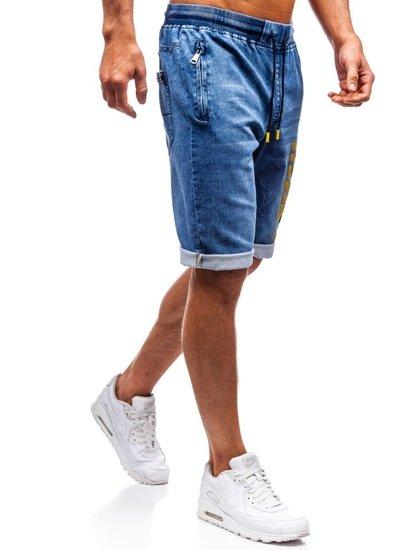 Krótkie spodenki jeansowe męskie granatowo-żółte Denley HY323