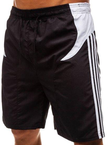Krótkie spodenki kąpielowe męskie czarno-białe Denley 237