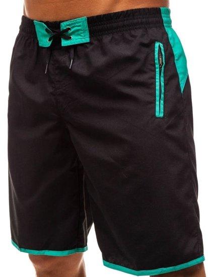 Krótkie spodenki kąpielowe męskie czarno-zielone Denley 202