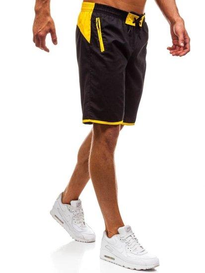 Krótkie spodenki kąpielowe męskie czaro-żółte Denley 202