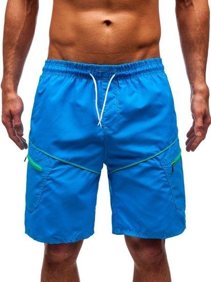 Krótkie spodenki kąpielowe męskie jasnoniebieskie Denley 341