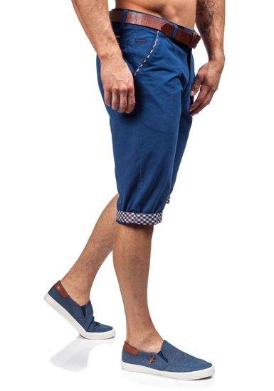 Krótkie spodenki męskie niebieskie Denley 348