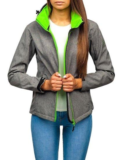 Kurtka damska przejściowa softshell szaro-zielona Denley AB053