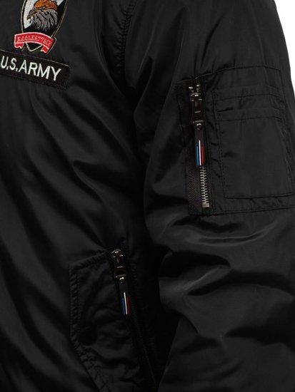 Kurtka męska bomberka przejściowa czarna Denley 736B