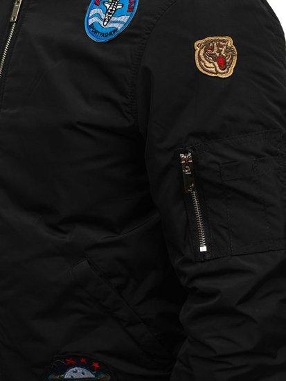 Kurtka męska przejściowa bomberka czarna Denley N711