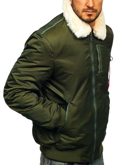 Kurtka męska przejściowa pilotka zielona Denley EX1787