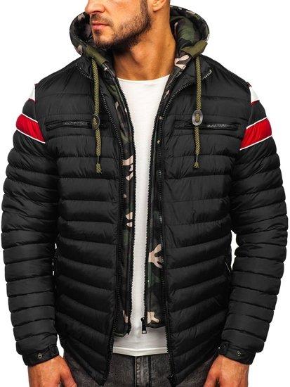 Kurtka męska przejściowa sportowa pikowana czarna Denley 50A465