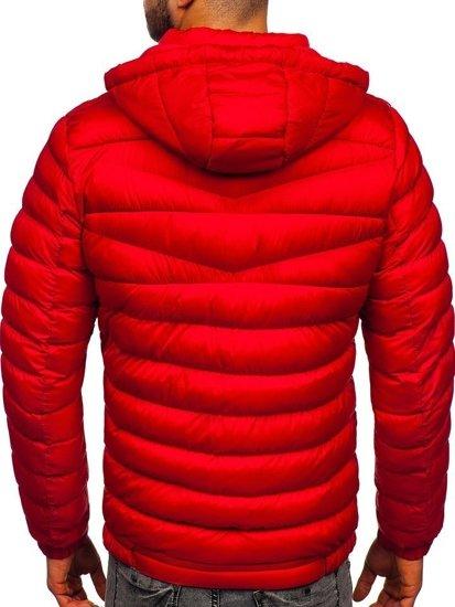 Kurtka męska przejściowa sportowa pikowana czerwona Denley 50A160