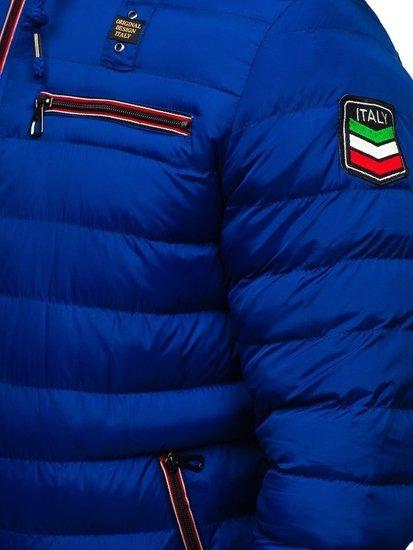 Kurtka męska przejściowa sportowa pikowana niebieska  Denley 50A171