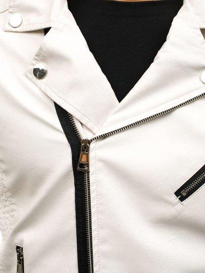 Kurtka męska skórzana biała Denley 4796