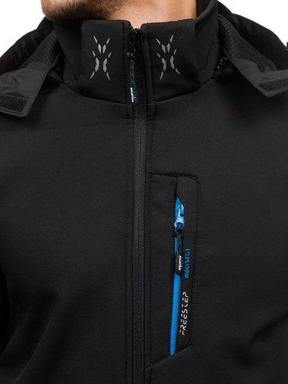 Kurtka męska softshell czarno-niebieska Denley b023