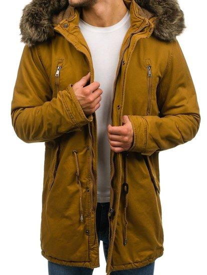 Kurtka męska zimowa parka camelowa Denley R56