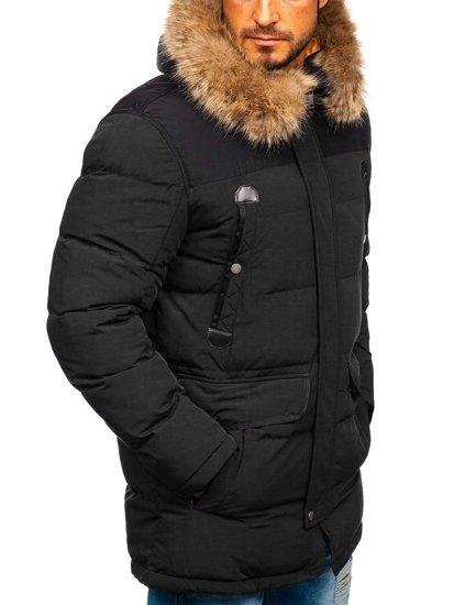 Kurtka męska zimowa parka czarna Denley 1090