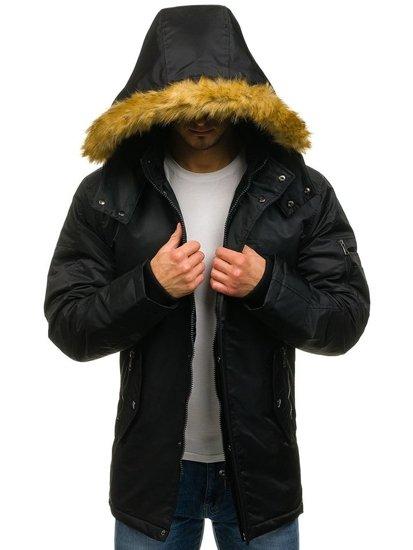 Kurtka męska zimowa parka czarna Denley 3097