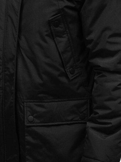 Kurtka męska zimowa parka czarna Denley R105