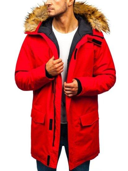 Kurtka męska zimowa parka czerwona Denley 201810
