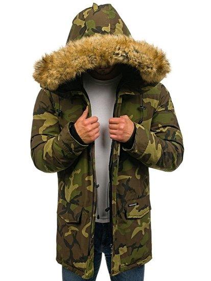 Kurtka męska zimowa parka moro-zielona Denley 4948