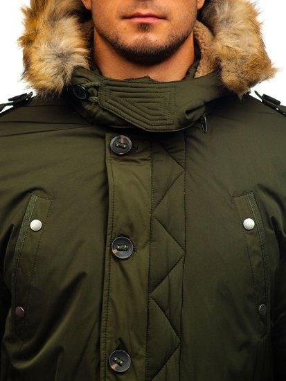 Kurtka męska zimowa parka zielona Denley 1021