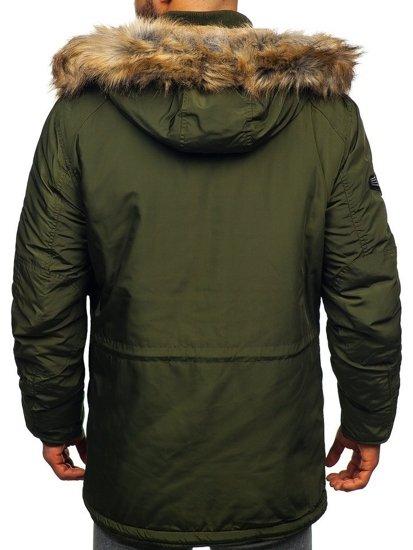 Kurtka męska zimowa parka zielona Denley 1045A