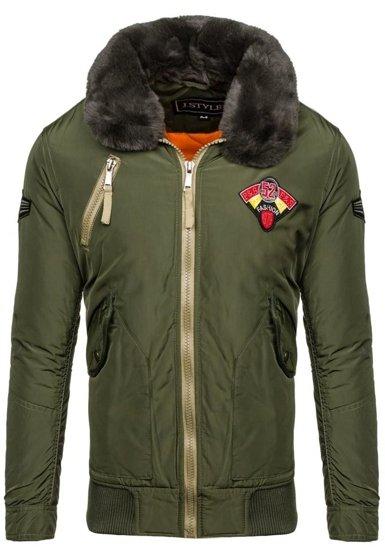 Kurtka męska zimowa pilotka khaki Denley 3151
