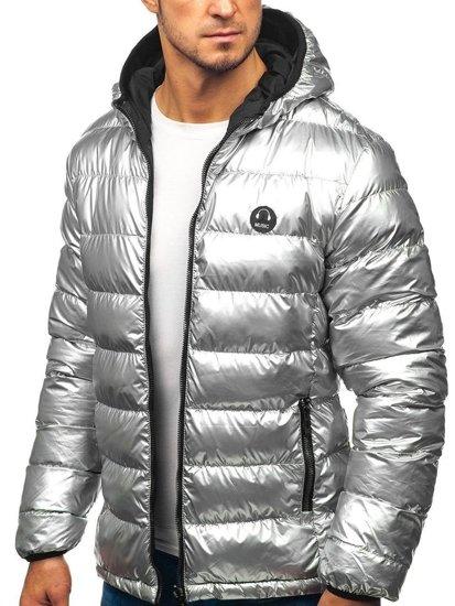 Kurtka męska zimowa sportowa dwustronna srebrno-czarna Denley 4790