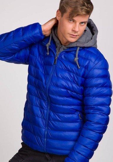 Kurtka męska zimowa sportowa niebieska Denley 3110