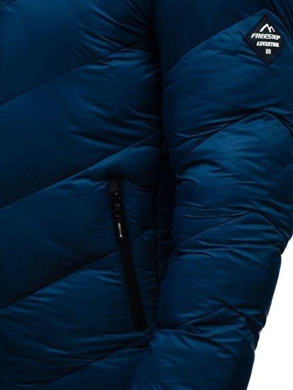 Kurtka męska zimowa sportowa niebieska Denley AB100