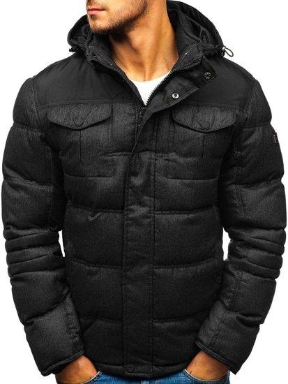 Kurtka męska zimowa sportowa pikowana czarna Denley AB104