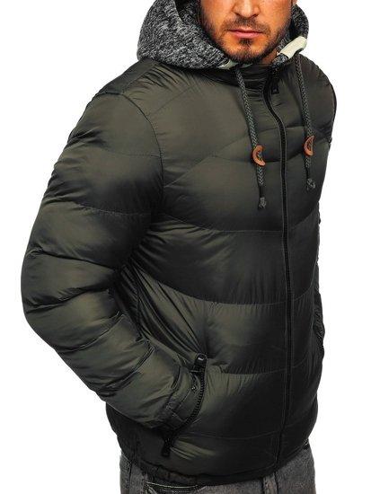 Kurtka męska zimowa sportowa pikowana khaki Denley 50A155