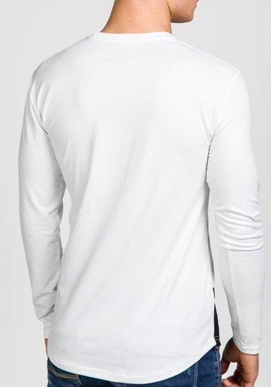 Longsleeve męski z nadrukiem biały Denley 129