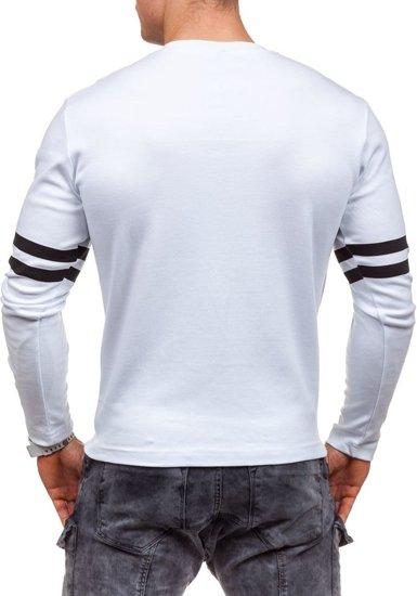 Longsleeve męski z nadrukiem biały Denley 4629