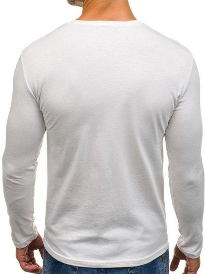 Longsleeve męski z nadrukiem biały Denley 7338