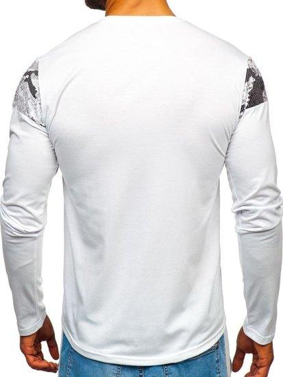 Longsleeve męski z nadrukiem biały Denley SX025
