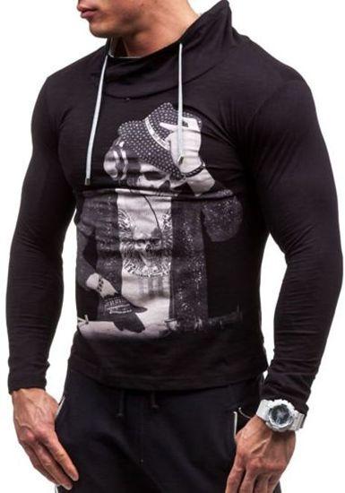 Longsleeve męski z nadrukiem czarny Denley 2208