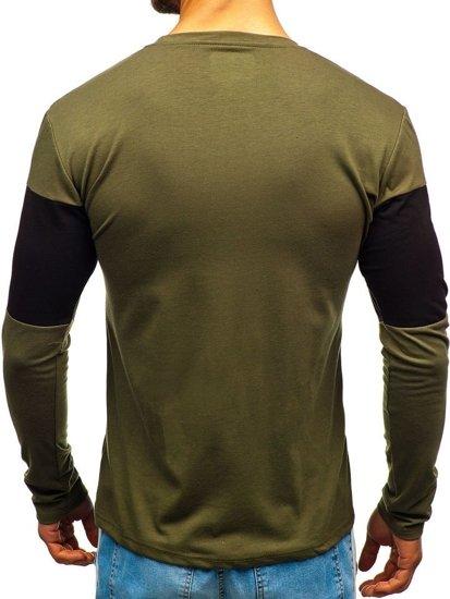 Longsleeve męski z nadrukiem zielony Denley XXS1090