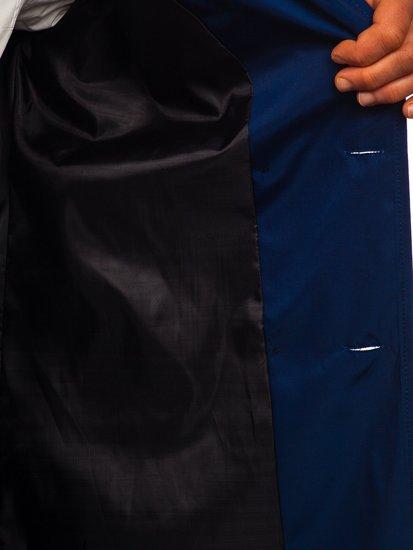 Niebieski dwurzędowy płaszcz męski prochowiec z wysokim kołnierzem i paskiem Denley 0001
