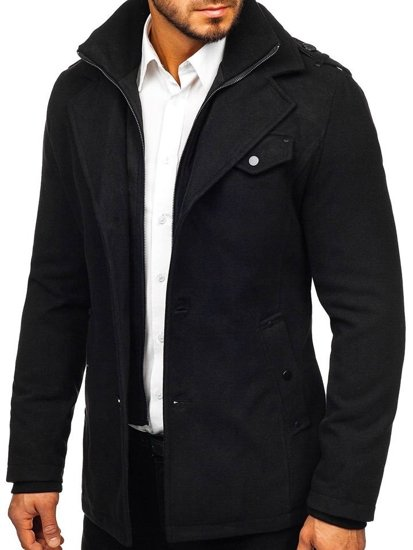 Płaszcz męski czarny Denley 832