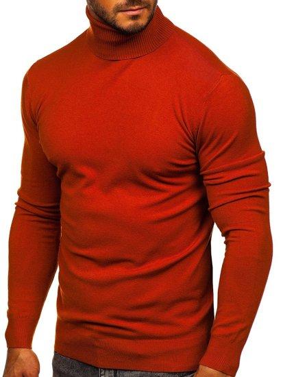 Pomarańczowy golf sweter męski bez nadruku Denley YY02