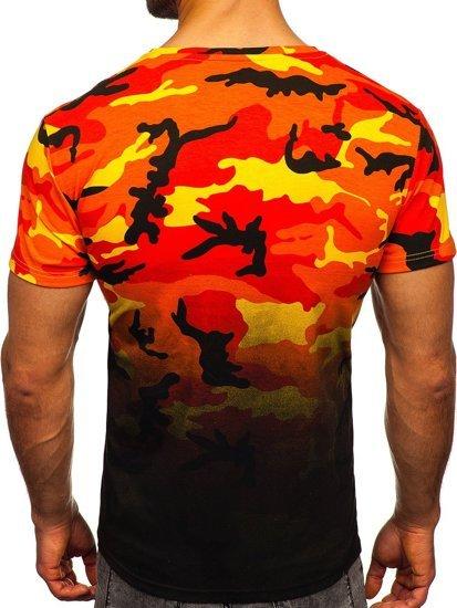 Pomarańczowy t-shirt męski z nadrukiem moro Denley S808