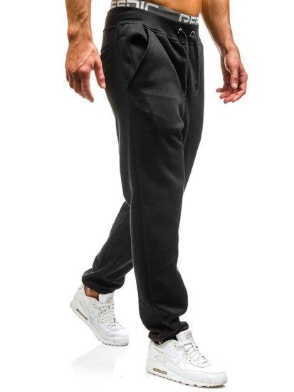 Spodnie dresowe baggy męskie czarne Denley x206