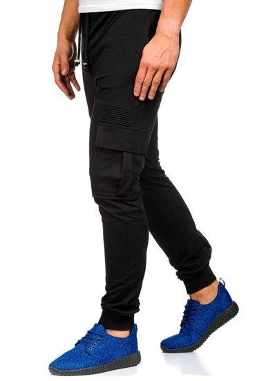 Spodnie dresowe bojówki męskie czarne Denley 0485
