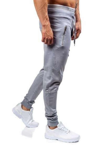 Spodnie dresowe joggery męskie szare Denley 1896