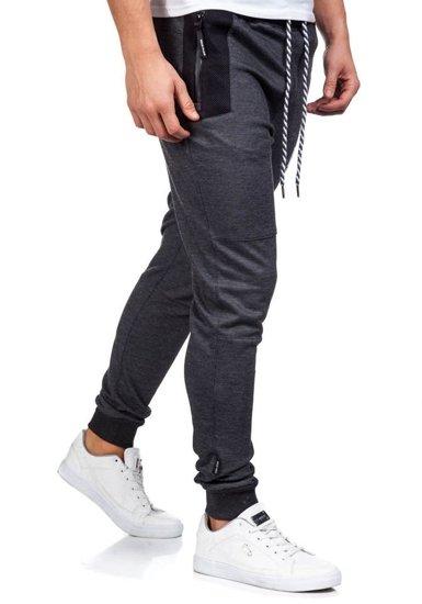 Spodnie dresowe męskie antracytowe Denley 3723