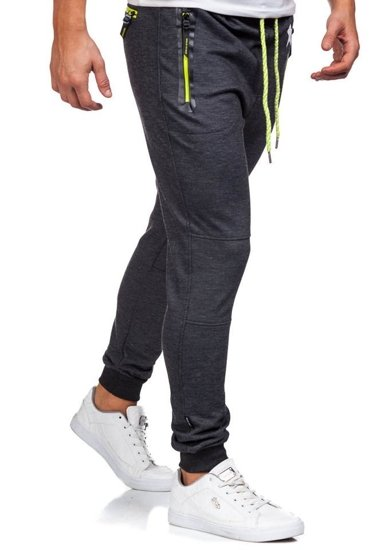Spodnie dresowe męskie antracytowo-seledynowe Denley 3720