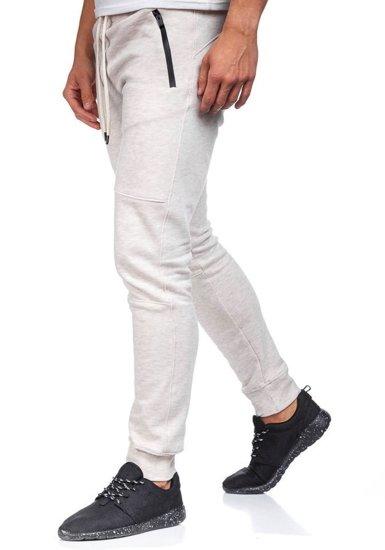 Spodnie dresowe męskie beżowe Denley 4972