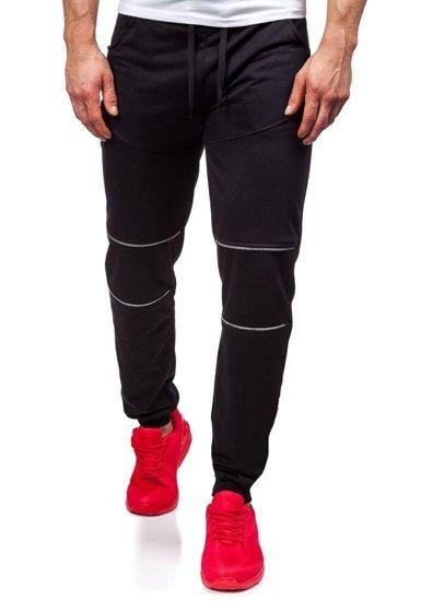 Spodnie dresowe męskie czarne Denley 6015