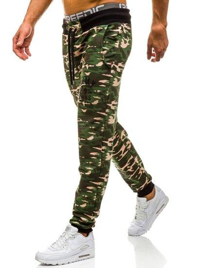 Spodnie dresowe męskie moro-zielone Denley 5121