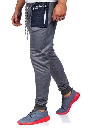 Spodnie dresowe męskie szaro-białe Denley 3722